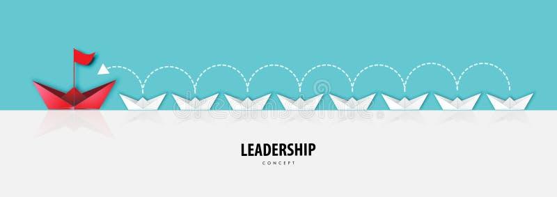Pappers- konst av ledarskapbegreppet med origamifartyget i den White River sikten och för pappershantverk för blå himmel vektor f vektor illustrationer