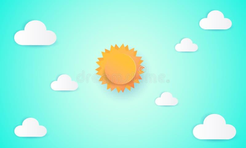 Pappers- konst av solen och molnet på blå himmel Pappers- klippt stil, abstrakt bakgrund som komponeras av vitbokmoln, och sol, i stock illustrationer
