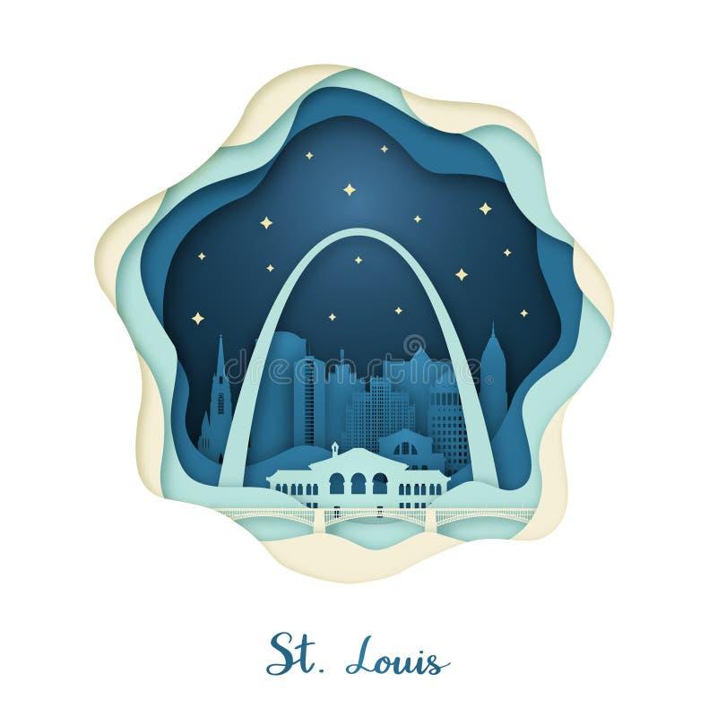 Pappers- konst av St Louis Origamibegrepp royaltyfri illustrationer