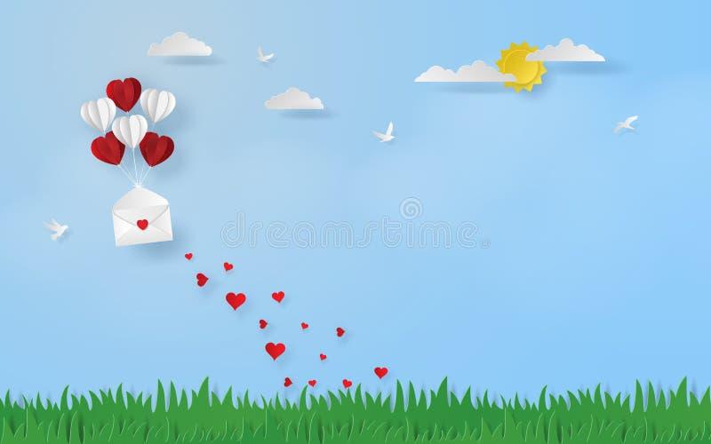 Pappers- konst, hantverkstil av hjärta formade ballongen med det öppnade brevet som svävar till himlen stock illustrationer