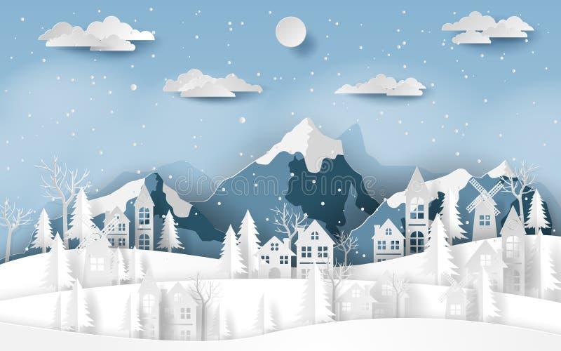 Pappers- konst, hantverkstil av landskapbygdbyn på snödalen i vintersäsong vektor illustrationer