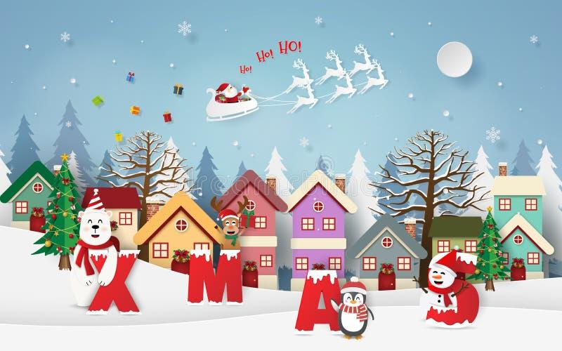 Pappers- konst, hantverkstil av Santa Claus som ger gåvor i byn, XMAS-parti vektor illustrationer