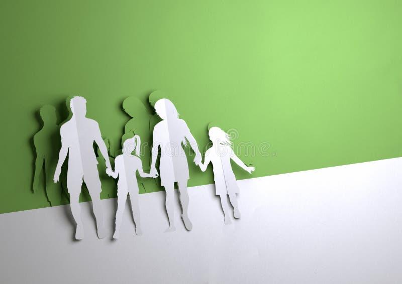Pappers- konst - lycklig ung familj vektor illustrationer