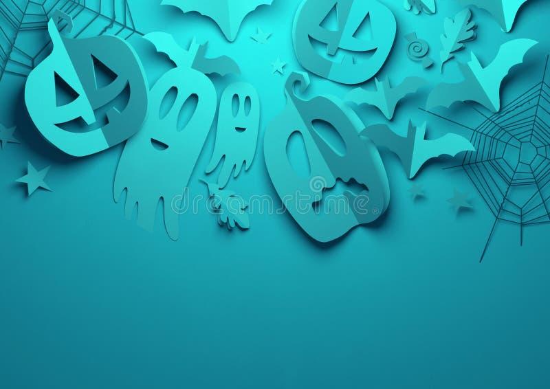 Pappers- konst - spöklik blå allhelgonaaftonbakgrund royaltyfri illustrationer