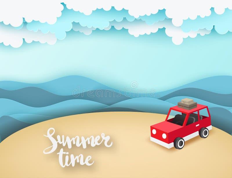 Pappers- konstbakgrund med den röda parkeringshuset på stranden med havet vinkar stock illustrationer
