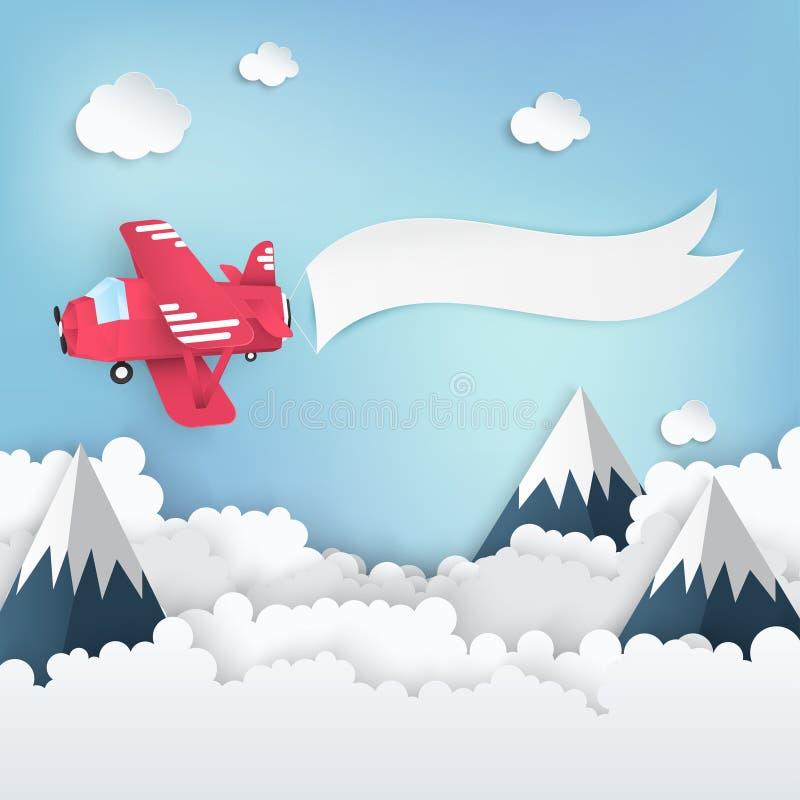 Pappers- konstbakgrund med pappers- moln, höga berg stock illustrationer