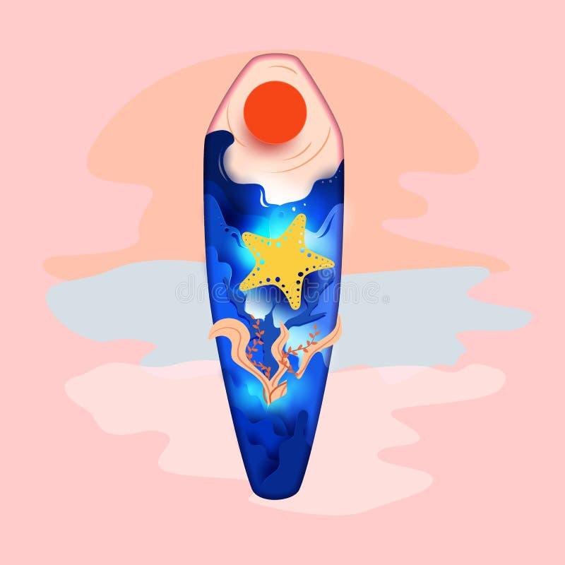 Pappers- konstdjupstil Djup, sjöstjärna och korall för designhavsvåg inom surfingbrädaform i sommartid Sommarstrandsemester royaltyfri illustrationer