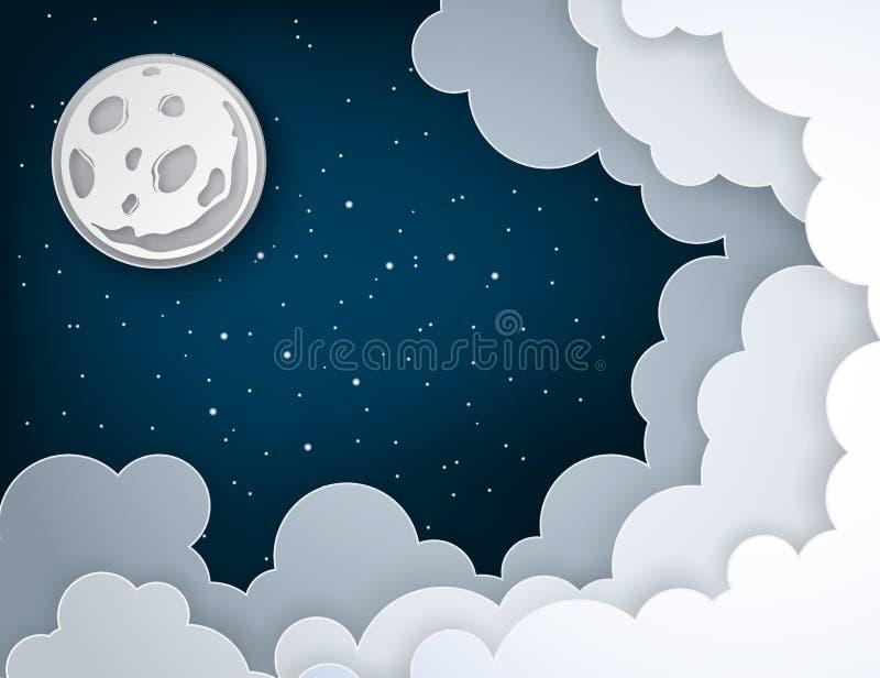 Pappers- konstfullmåne, strålar, fluffiga moln och stjärnor stock illustrationer