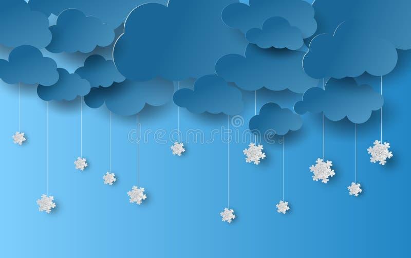 Pappers- konsthantverkstil av molnet och snöfall med vinterhav stock illustrationer