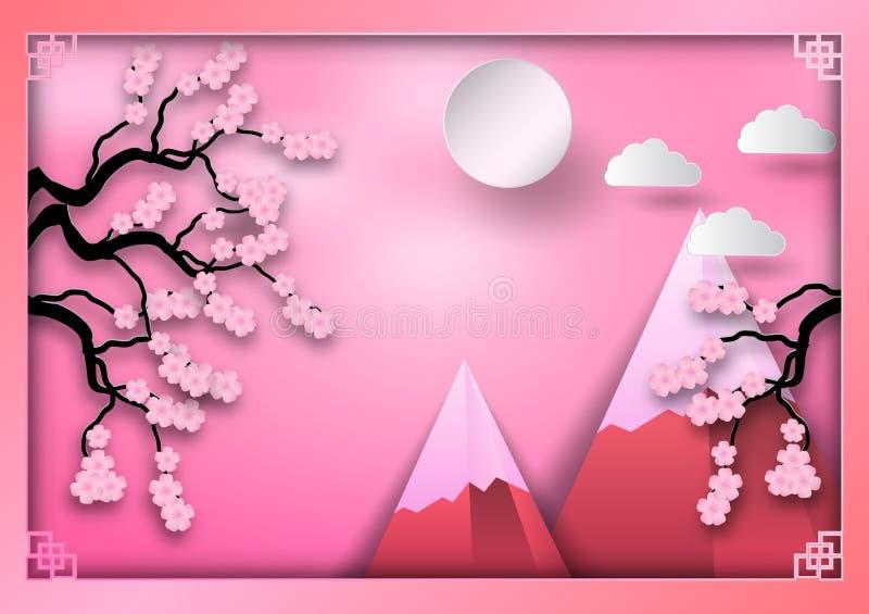 Pappers- konststil av berg med filialen av körsbärsröda blomningar, moln och solen på rosa bakgrund, orientalisk tappningmodellra royaltyfri illustrationer