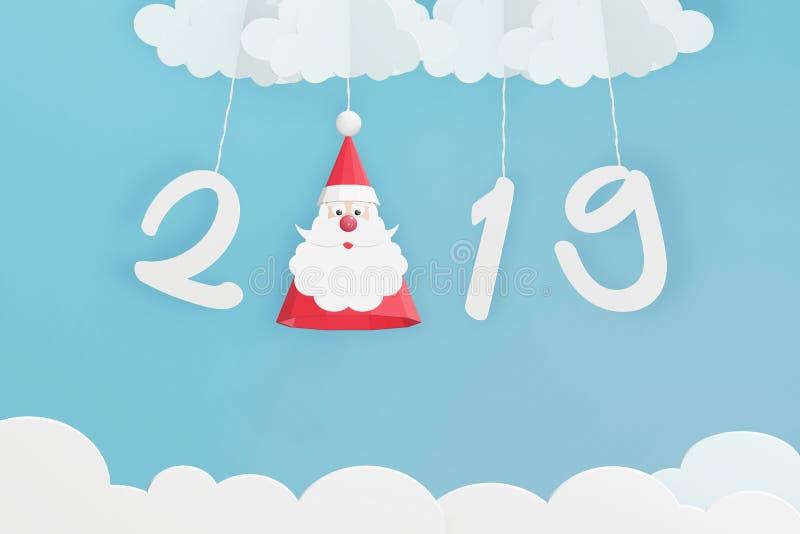 Pappers- konststil av den Santa Claus hatten och hängning 2019 med molnet i den blåa himlen stock illustrationer