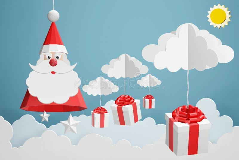 Pappers- konststil av hängning för Santa Claus hatt- och gåvaask med molnet i den blåa himlen vektor illustrationer