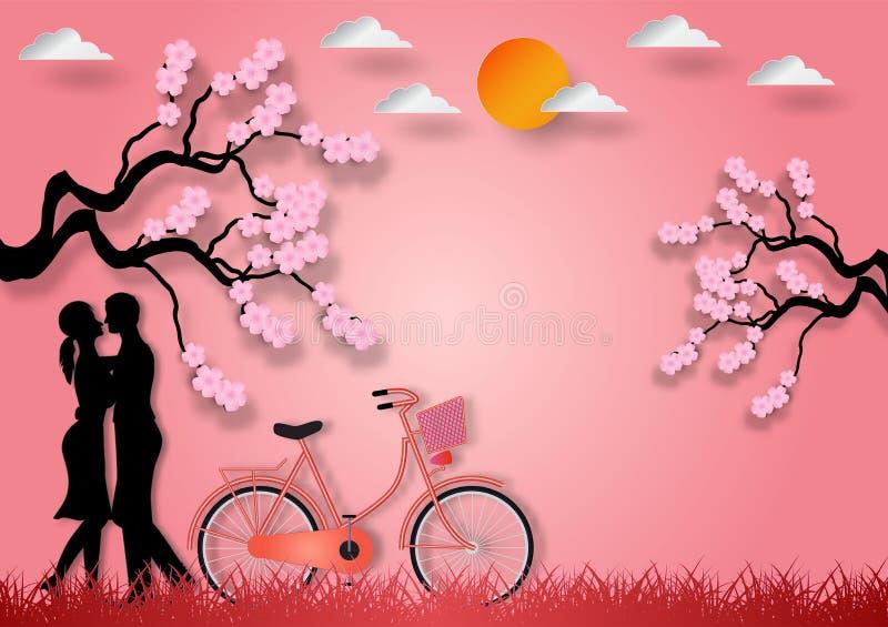 Pappers- konststil av mannen och kvinnan som är förälskade med cykeln och den körsbärsröda blomningen på rosa bakgrund också vekt stock illustrationer