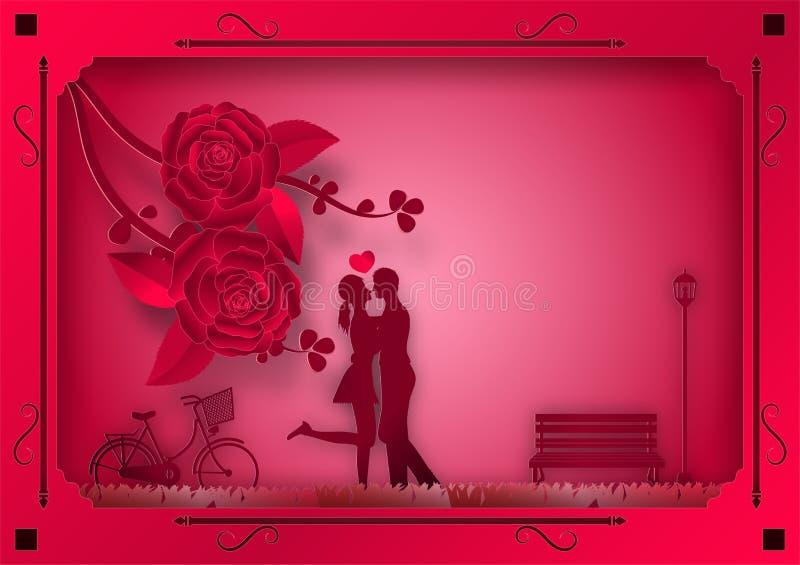 Pappers- konststil av steg blommor och vinrankor på rosa bakgrund i ramen med den förälskade mannen och kvinnan också vektor för  stock illustrationer