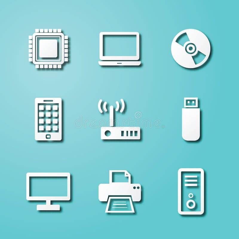 Pappers- konstsymboler för dator och för apparat stock illustrationer