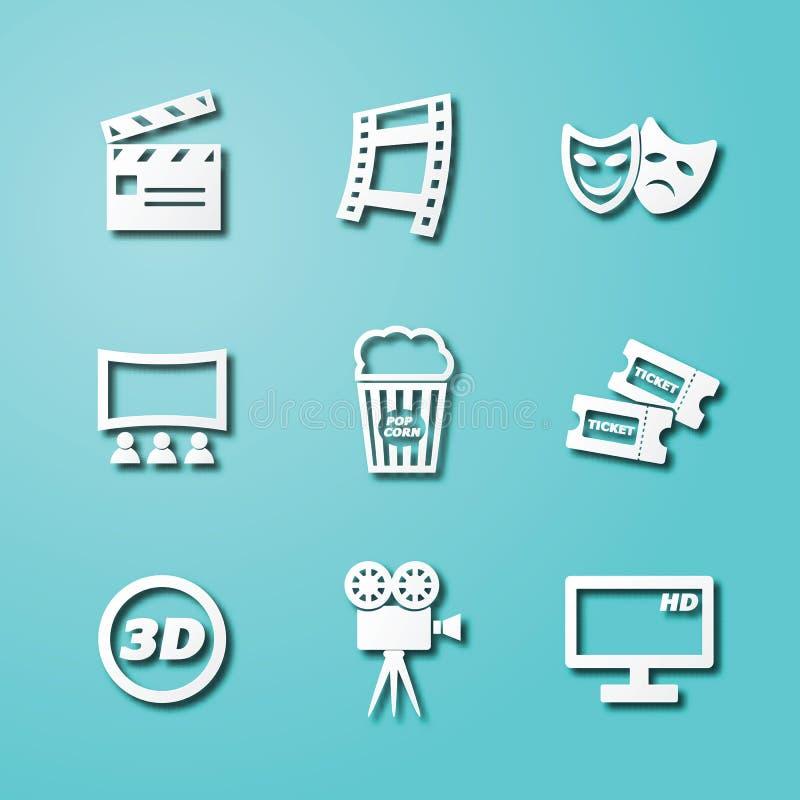 Pappers- konstsymboler för film royaltyfri illustrationer