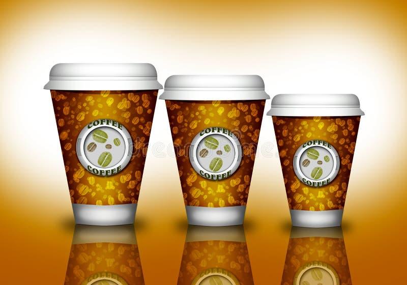 Pappers- kopp för kaffe stock illustrationer