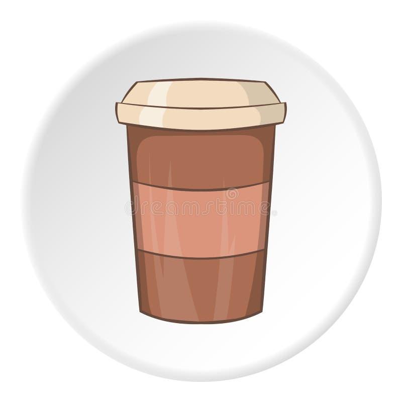 Pappers- kopp för kaffesymbolen, tecknad filmstil royaltyfri illustrationer