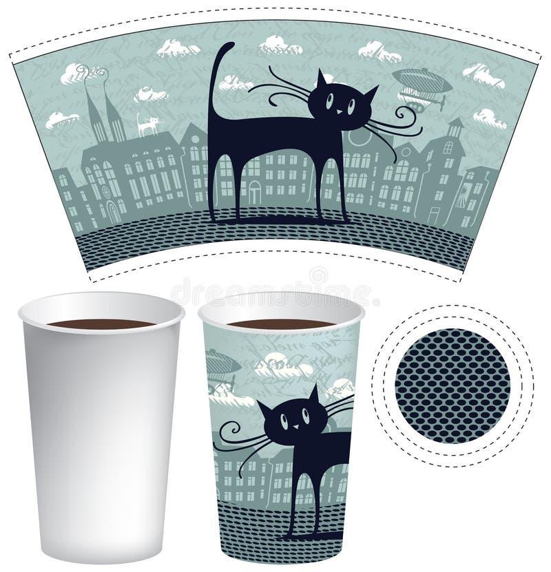 Pappers- kopp för te eller kaffe royaltyfri illustrationer