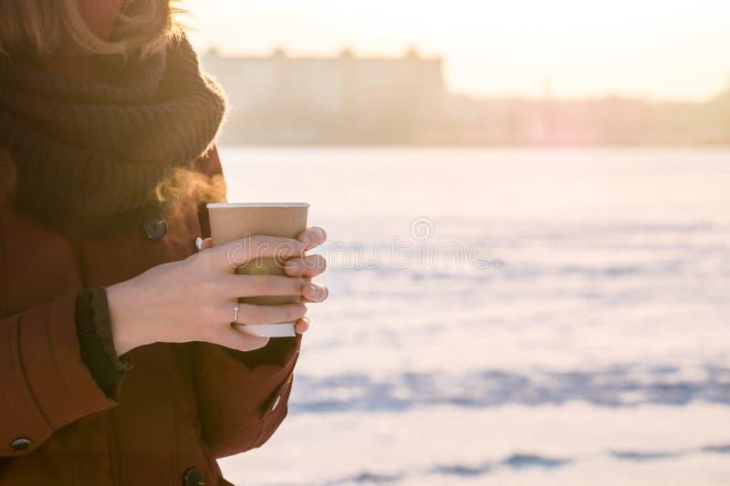 Pappers- kopp med den varma ånga drinken på en vinterdag i händer royaltyfri fotografi