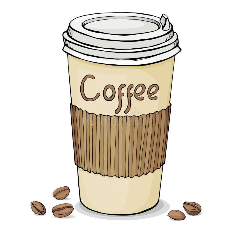 Pappers- kopp med locket med varmt kaffe som ska tas bort, och kaffebönor white för vektor för bakgrundsillustrationhaj arkivbild