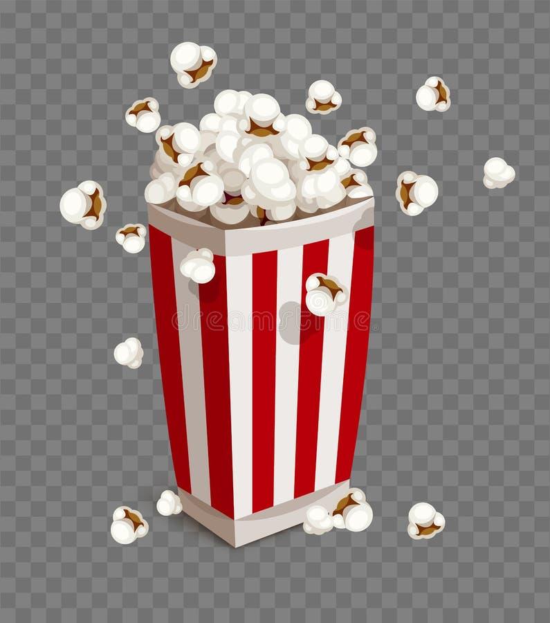 Pappers- kopp med popcorn stock illustrationer