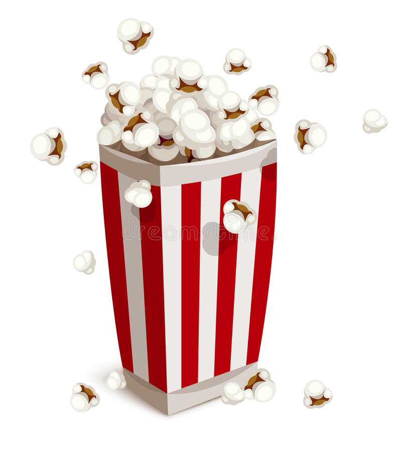 Pappers- kopp som är full av popcorn stock illustrationer