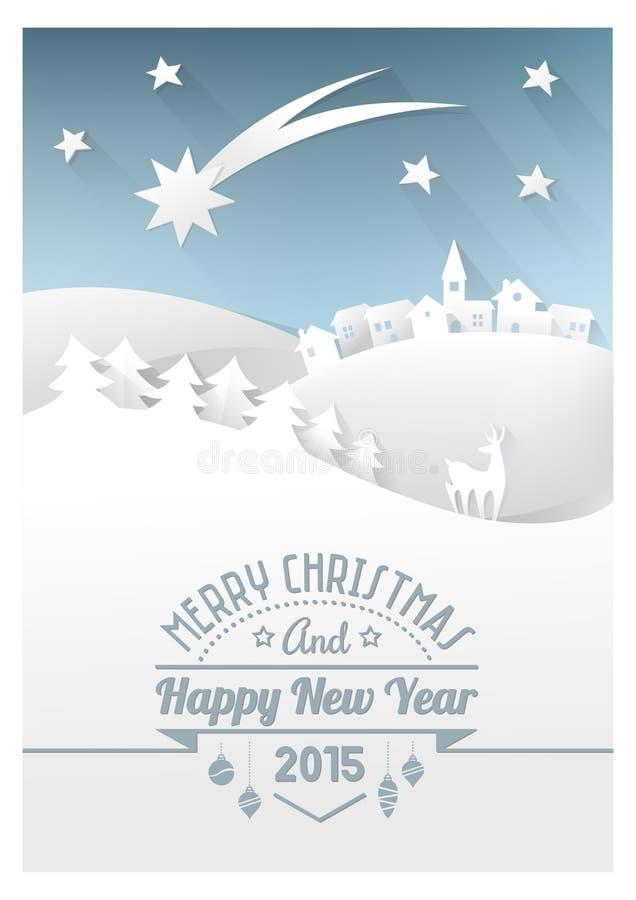 Pappers- kort för jul stock illustrationer