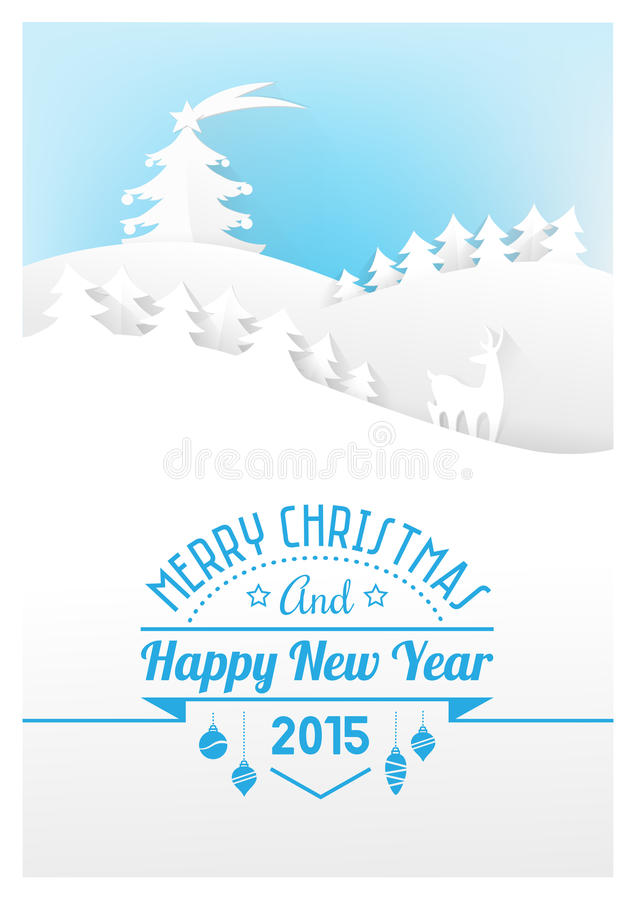 Pappers- kort för jul royaltyfri illustrationer