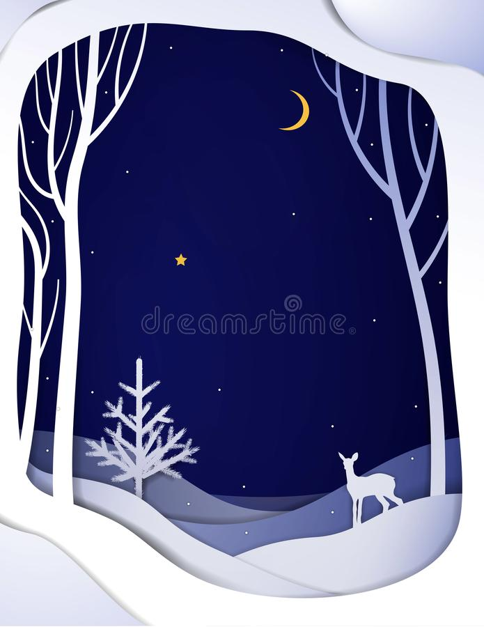 Pappers- landskap för vinterskognatt med unga hjortar och julgranen, pappers- vintersagabakgrund med bambi, stock illustrationer