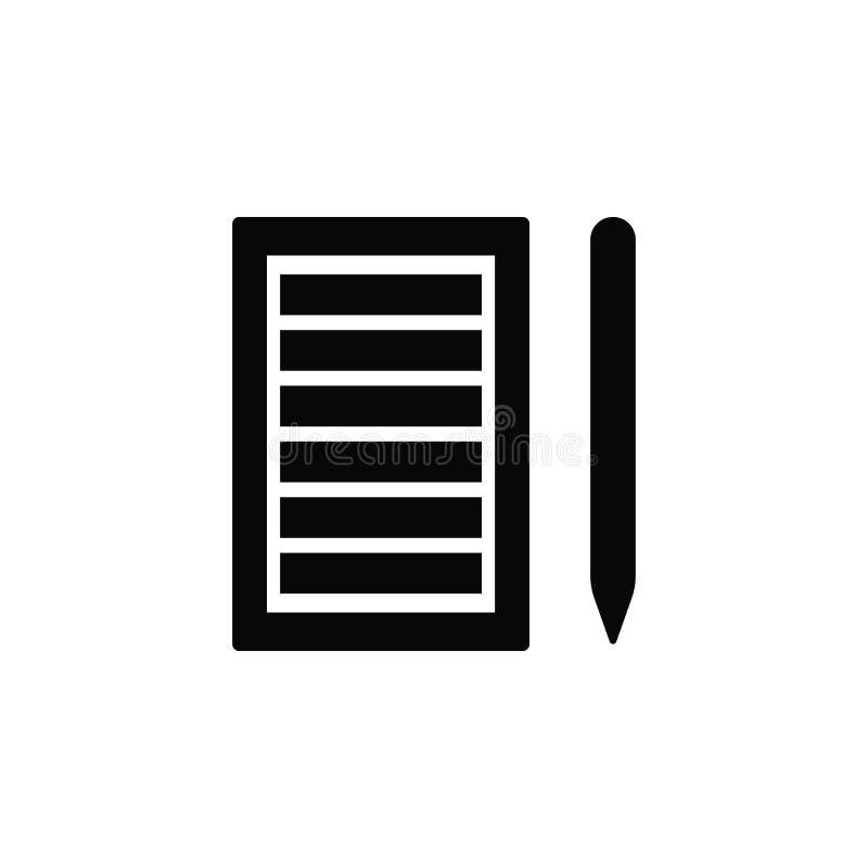 Pappers- lista, blyertspenna, symbol Beståndsdel av den enkla symbolen för websites, rengöringsdukdesign, mobil app, infographics vektor illustrationer
