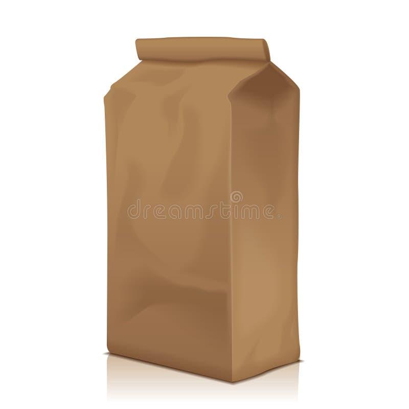 Pappers- matpåsepacke av kaffe, mjöl, socker, peppar, mellanmål eller för Takeaway mat Vektormodellmall för produkt royaltyfri illustrationer