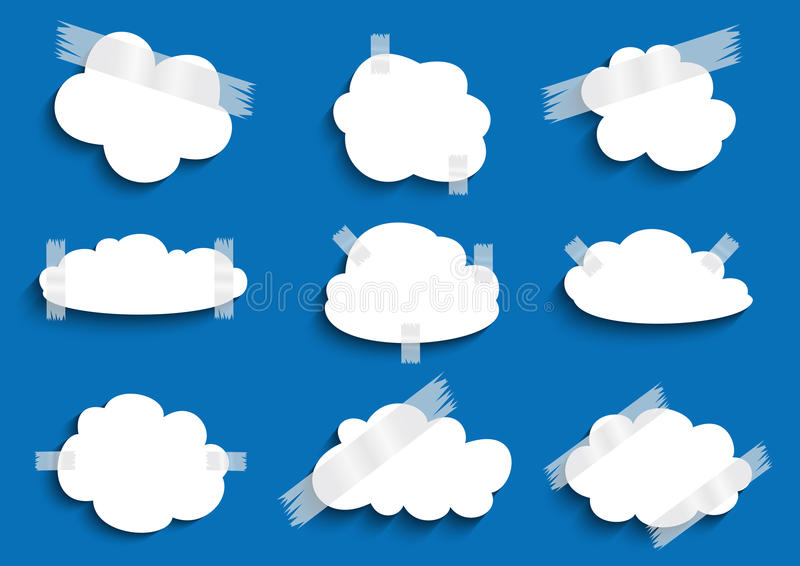 Pappers- moln med tejpsamlingen royaltyfri illustrationer