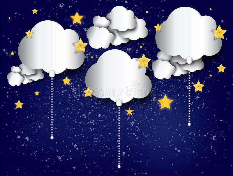 Pappers- molnballonger på den stjärnklara himlen för natten gör sammandrag bakgrund royaltyfri illustrationer