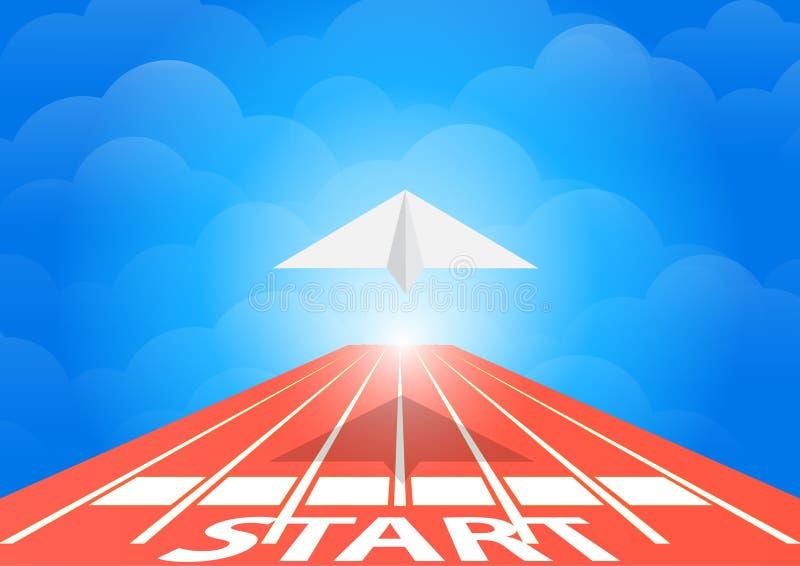 Pappers- nivåfluga på rinnande spår över begreppet för blå himmel, illustration vektor illustrationer