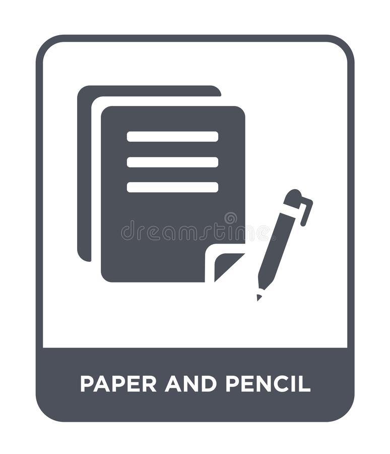 pappers- och blyertspennasymbol i moderiktig designstil pappers- och blyertspennasymbol som isoleras på vit bakgrund Pappers- och stock illustrationer