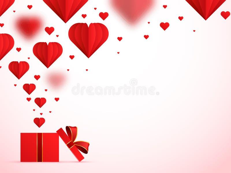 Pappers- origami av hjärtor som poppar ut ur gåvaasken på glansig rosa bakgrund royaltyfri illustrationer