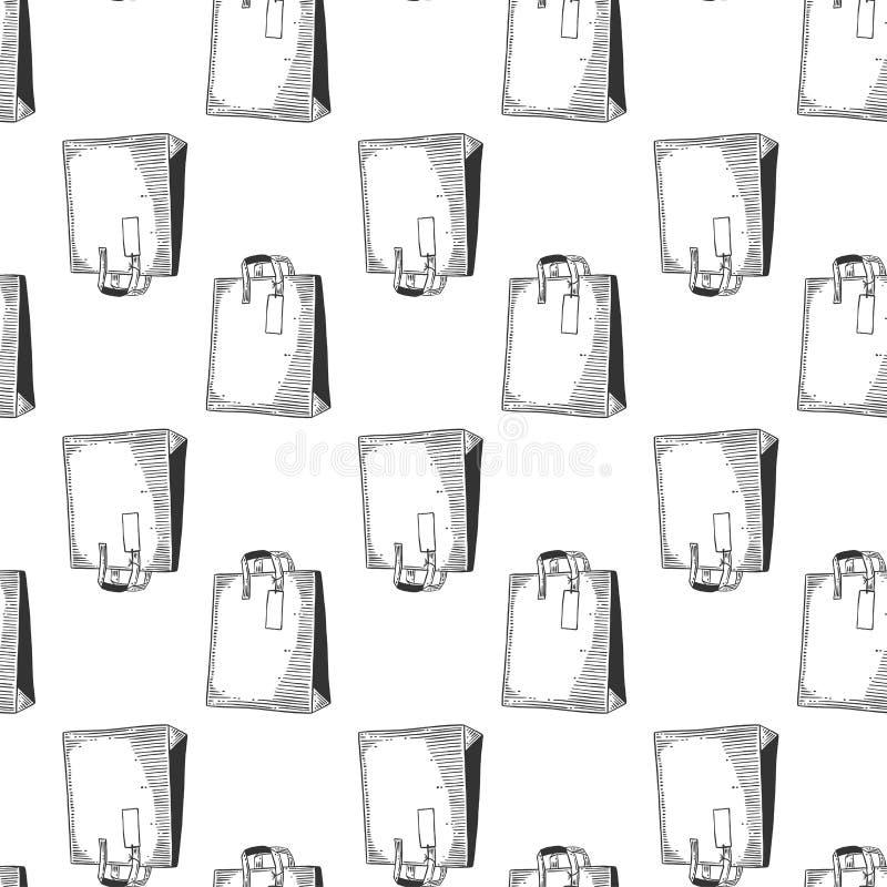 Pappers- påse för att shoppa eller gåvor Vektorbegrepp i klotter och att skissa stil Utdragen illustration för hand för utskrift  royaltyfri illustrationer