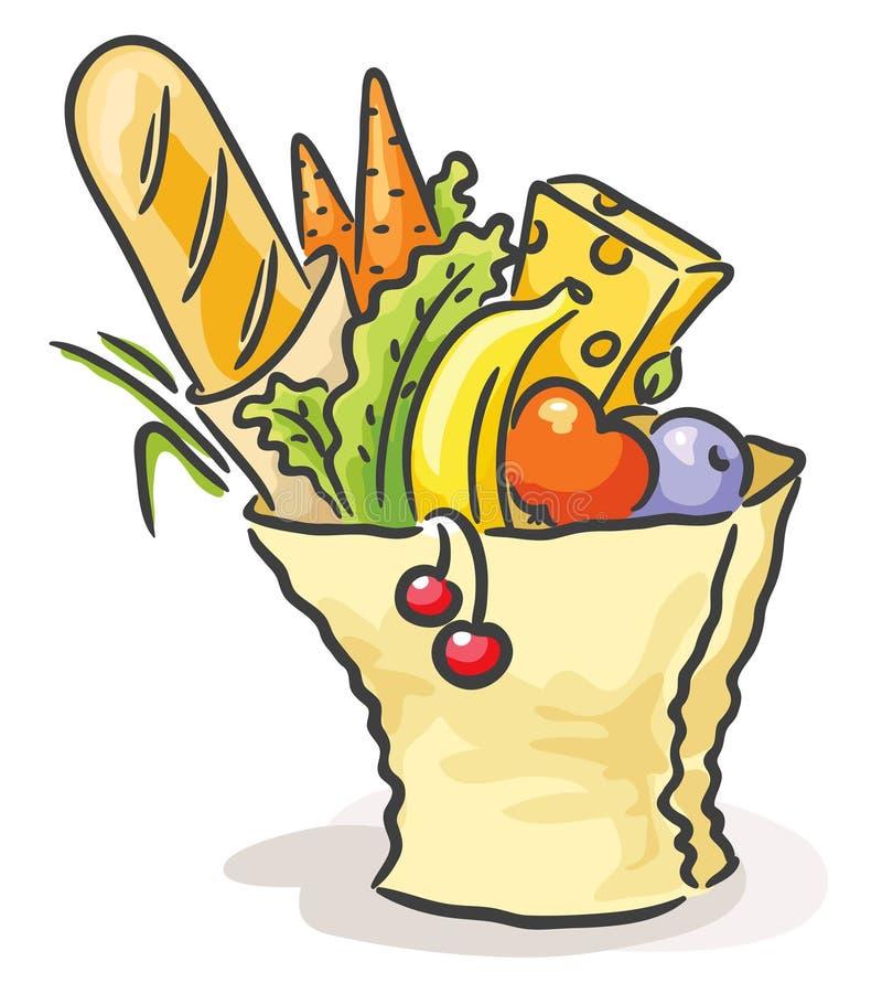Pappers- påse med olik mat stock illustrationer