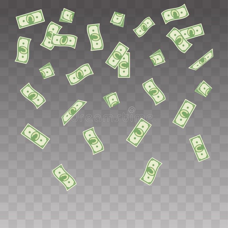 pappers- pengar för illustration som faller på en genomskinlig bakgrund Uppsättning för flygsedelpengar royaltyfria foton