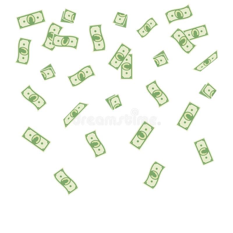 Pappers- pengar för vektorillustrationtecknad film som faller på en vit bakgrund Flygsedelpengar vektor illustrationer