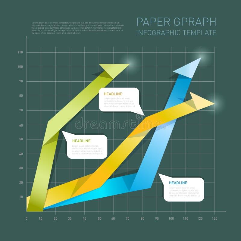 Pappers- pilinformation-diagram på mörk bakgrund också vektor för coreldrawillustration stock illustrationer