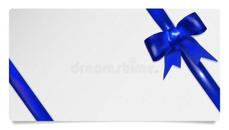 Pappers- presentkort med blåttpilbågen stock illustrationer