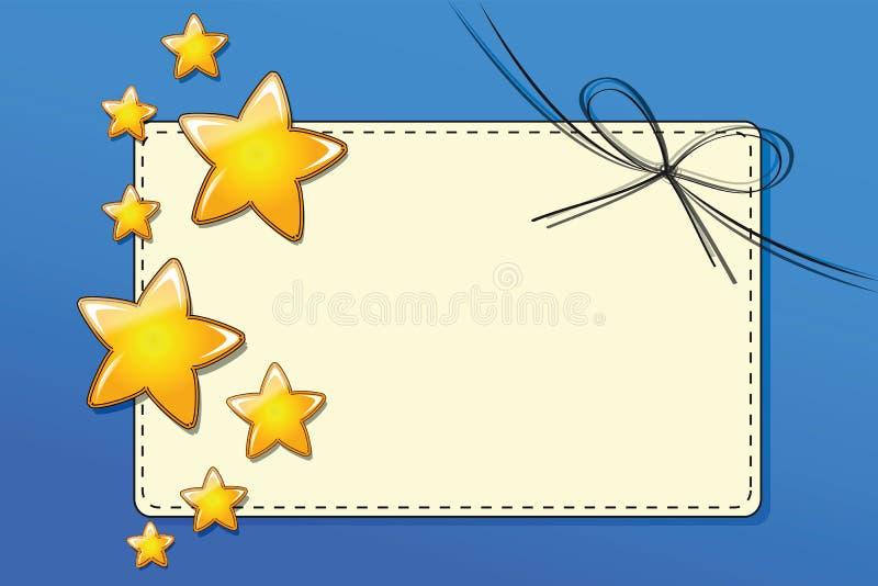 Pappers- presentkortkort med band med guld- stjärnor på blå bakgrund royaltyfri illustrationer