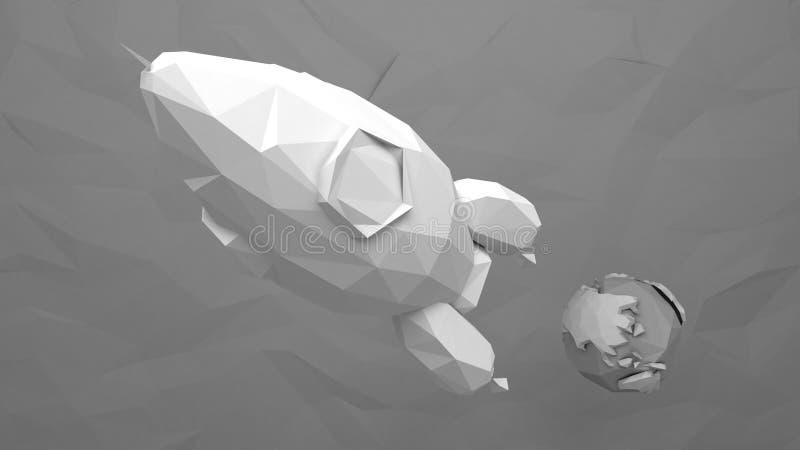 Pappers- raket stock illustrationer
