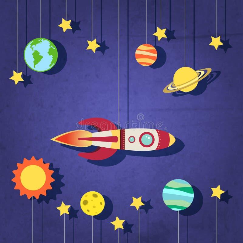 Pappers- raket i utrymme stock illustrationer