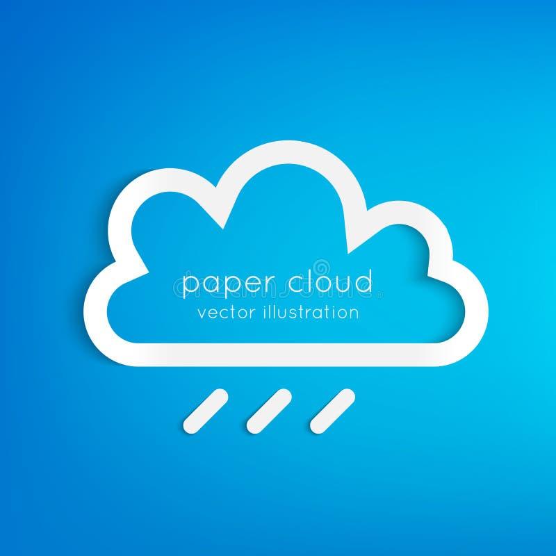 Pappers- regnigt moln vektor illustrationer