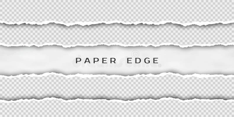 Pappers- revagräns Ställ in av sönderrivna horisontalsömlösa pappers- band Pappers- textur med den skadade kanten som isoleras på vektor illustrationer