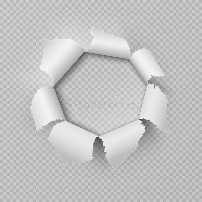 Pappers- revahål Den realistiska sönderrivna trasiga kanten för mellanrumsaffischskada rev sönder det genomskinliga kulhålet för  stock illustrationer