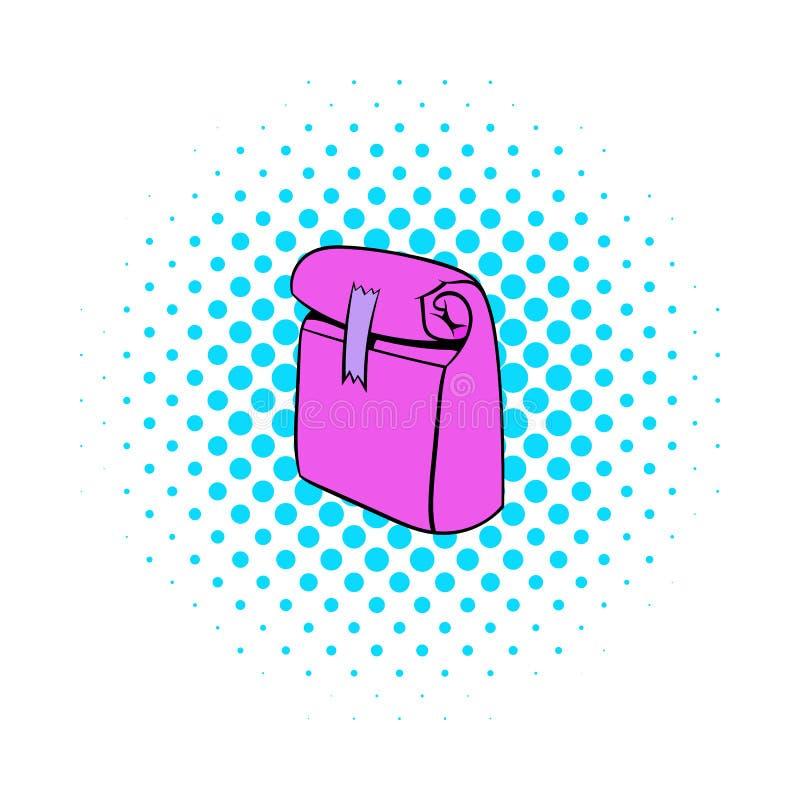 Pappers- rosa färger äter lunch påsesymbolen, komiker utformar vektor illustrationer